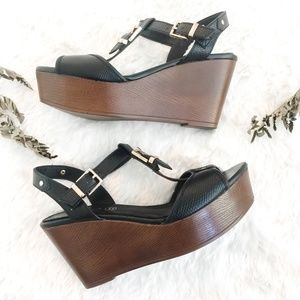 Aldo Black Leather Buckle Wedge Shoes Size 7.5